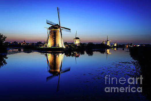 Windmills at dusk in the blue hour by IPics Photography