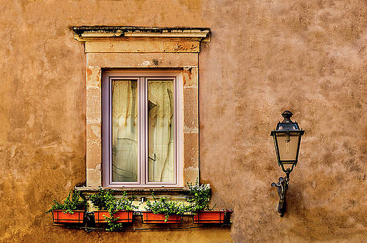 Window Flowers And Lamp Syracuse  Sicily by Xavier Cardell