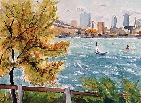Windy Day Sailing Boston by Katie Cornog