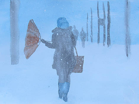 Windy Snowy Day  by Ron Enderland