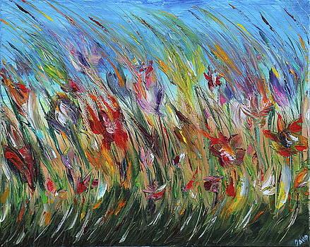Windy Summer Flowers by David King Johnson