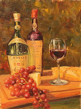 Wine and Cheese Still Life by Steve Haigh