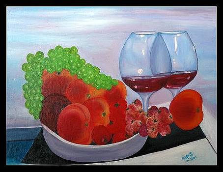 Wine and fruits by Usha Rai
