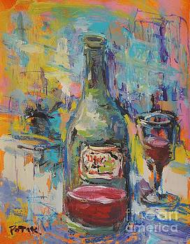 Wine Bottle and Glass  by Russ Potak