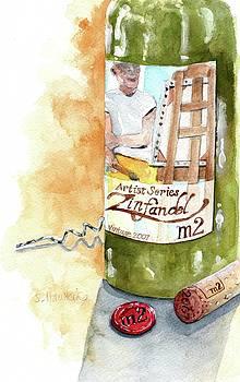 Wine Bottle Still Life- M2 Zinfandel by Sheryl Heatherly Hawkins