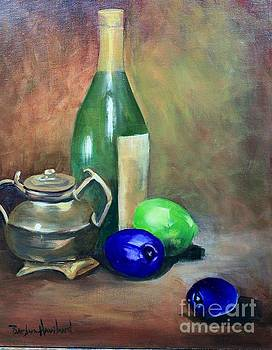 Wine Bottle,Brass and Lemons by Barbara Haviland