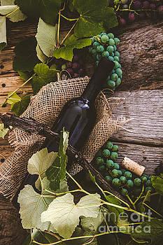 Wine bottles on wood by Mythja Photography