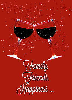 Wine Friends, Family Happiness Toasting Wine Glasses in the Snow by Stephanie Laird