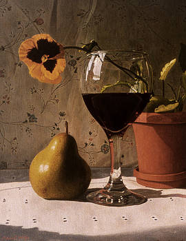 Wine Glass Pear and Pansy by Daniel Montoya