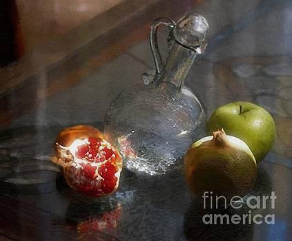 Wine Pitcher With Fruit by John Kolenberg