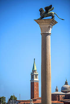 Eduardo Huelin - Winged St Mark Lion symbol of Venice on its column Ita
