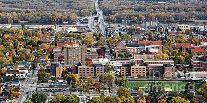 Winona Minnesota With University and Bridge by Kari Yearous