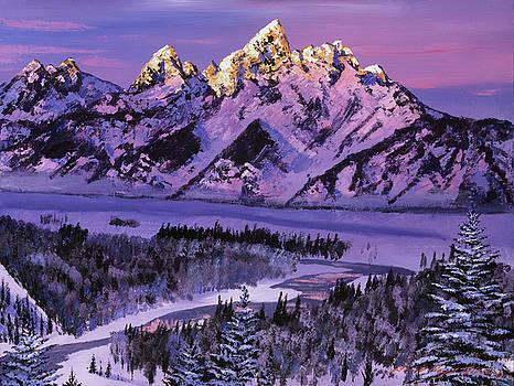 Winter Air Grand Tetons by David Lloyd Glover