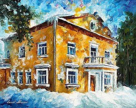 Winter At Home - PALETTE KNIFE Oil Painting On Canvas By Leonid Afremov by Leonid Afremov