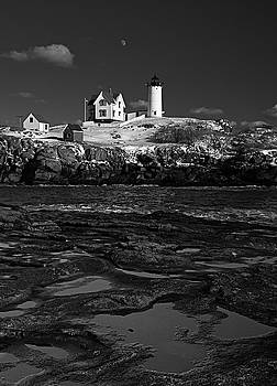 Winter At Nubble Lighthouse BW by David Smith