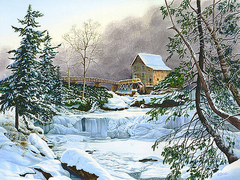Winter at the Mill Glade Creek Grist Mill West Virginia by Richard Devine