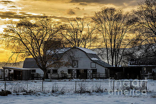 Winter Barn at Sunset - Provo - Utah by Gary Whitton
