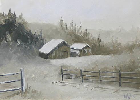 Winter Barn Landscape Oil Painting by Mark Webster