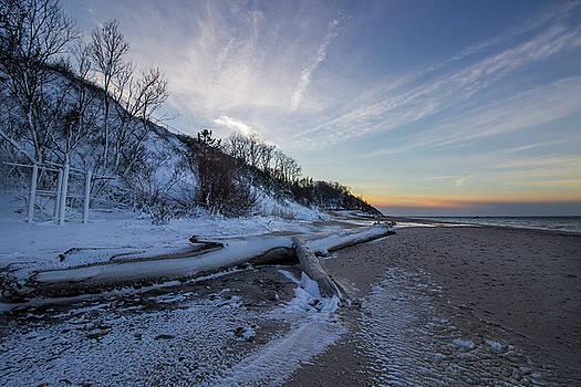 Winter Beach Sunset by Roderick Breem
