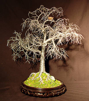 Winter Bird Nest - Wire Tree Sculpture by Sal Villano