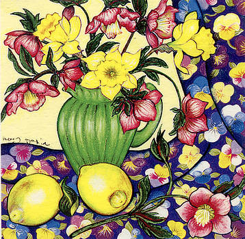 Winter Blooms with Lemons and Pansies by Richard Lee