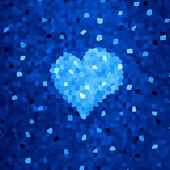 Winter Blue Crystal Heart by Boriana Giormova