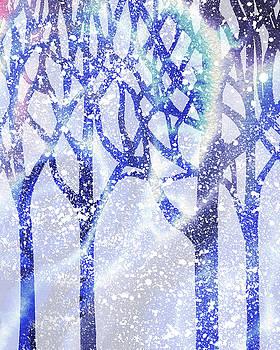 Winter Blue Forest Silhouette by Irina Sztukowski