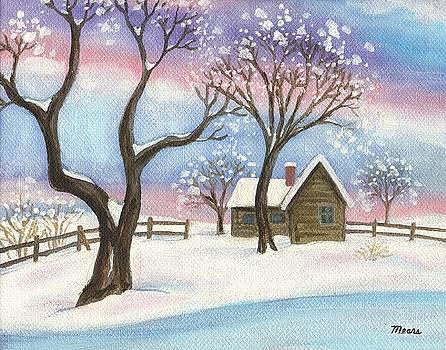 Linda Mears - Winter Cabin Landscape