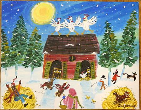 Winter Chickens by Julie Schronk