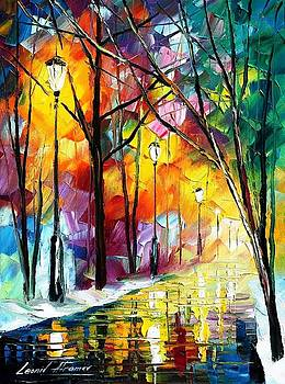 Winter Collection - PALETTE KNIFE Oil Painting On Canvas By Leonid Afremov by Leonid Afremov