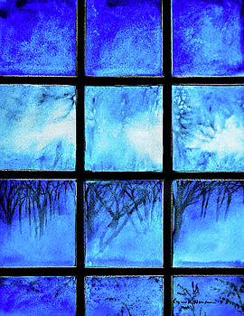 Winter Evening Yard Lights by Lynn Hansen
