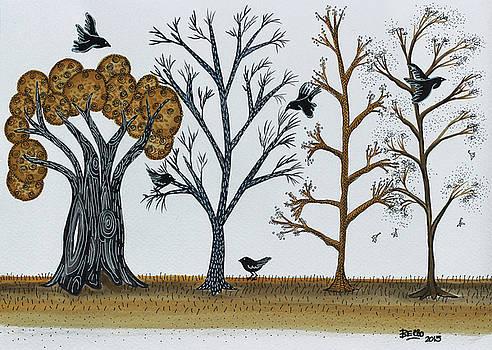Blackbirds in the Winter Grove by Graciela Bello