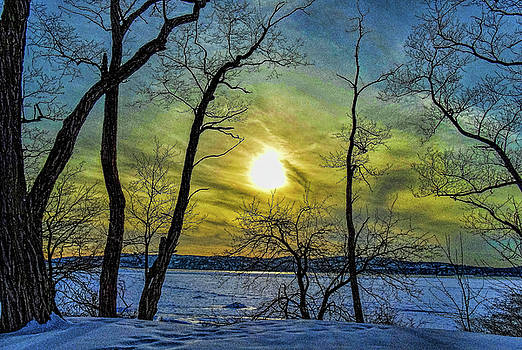 Winter Hudson Sunset by Jeffrey Friedkin