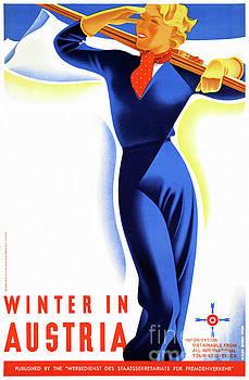 Winter in Austria Restored Vintage Travel Poster by Carsten Reisinger