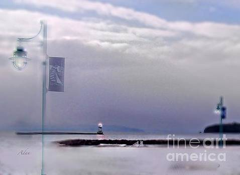 Felipe Adan Lerma - Winter Lights to Rock Point Digital Painting of Evening Sentries at the Coast Guard Station