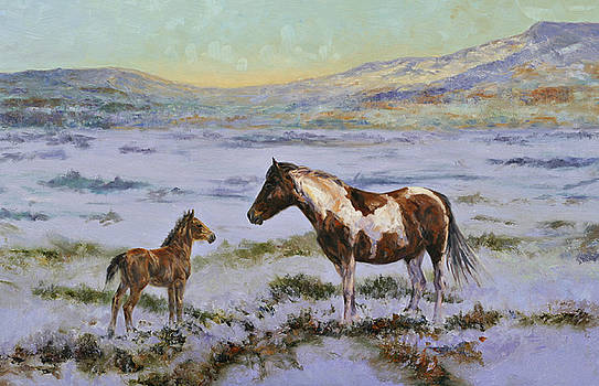 Winter Mare and Foal by Karen McLain