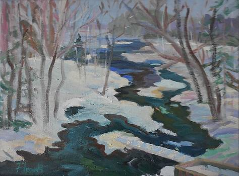 Winter Mill Stream  by Francine Frank
