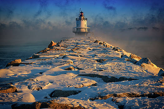 Winter Morning at Spring Point Ledge Lighthouse by Rick Berk
