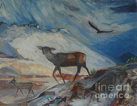 Winter Mule Deer by Dawn Senior-Trask and Willoughby Senior