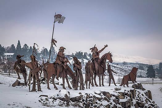 Winter Native American Sculpture by Brad Stinson