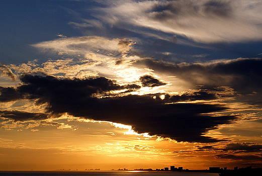 Winter ocean sunset at Cherry Grove Beach by Elena Tudor