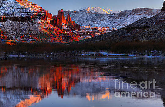 Winter Reflections At Fisher Towers by Adam Jewell