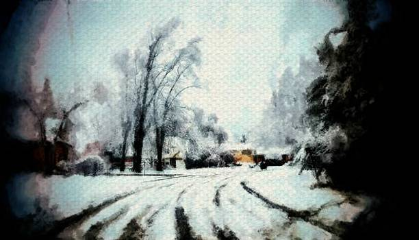 Winter road snow tracks painting sketch of trees and cold season by MendyZ