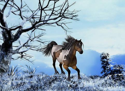 Winter Scene - running horse by John Junek