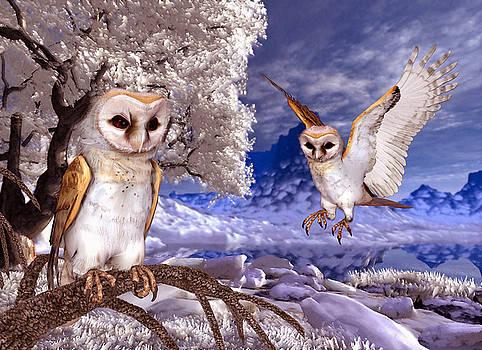 John Junek - Winter Scene - Two Barn Owls