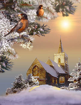Winter scene with robins and church   by Regina Femrite