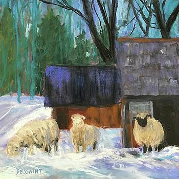 Winter Sheep by Linda Dessaint