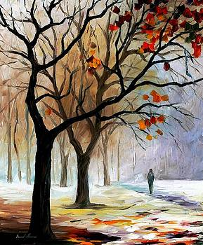 Winter Silence - PALETTE KNIFE Oil Painting On Canvas By Leonid Afremov by Leonid Afremov