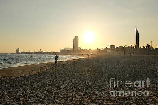 Winter Sun on Barcelona Beach by C Lythgo