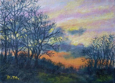 Winter Sundown Sketch by Kathleen McDermott
